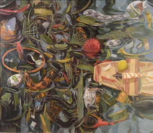 """Owen Gray Boat in Paradise (2008) oil 46.5""""x40"""" on canvas"""
