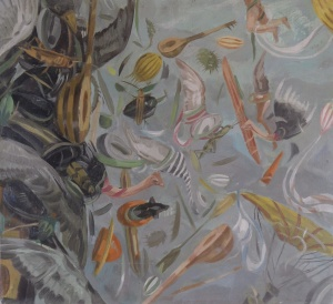 """Owen Gray - Chaotic Creatures (2012) 13.5""""x 13.25 oil on panel 1"""