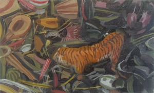 """Owen Gray Curious Tiger (2013) 9.75""""x6"""" oil on panel"""
