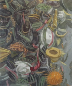 """Owen Gray Frogs and Mussels (2011)  10.25""""x12.25""""oil on panel"""