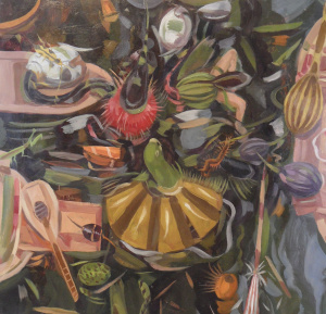 Owen Gray Green Parrot in Charge (2011) 19.25x18.75  oil on paper