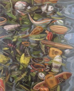 """Owen Gray Instruments and Insects (2012) 29"""" x 24""""  oil on paper"""