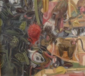 """Owen Gray Two Baboons (2008) 12""""x11"""" oil on panel"""