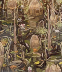 Owen Gray - Young and Old Cypress Trees - oil on paper 16x20